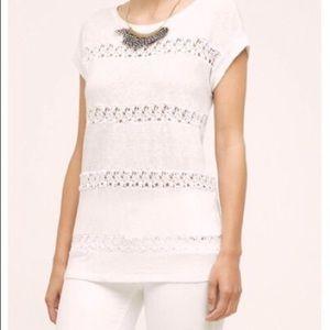 Anthropologie Akemi + Kin Lattice Lace Linen Shirt